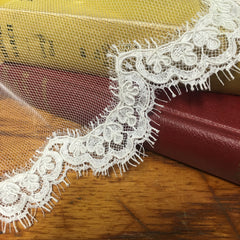 Corded scalloped lace edge of bridal veil