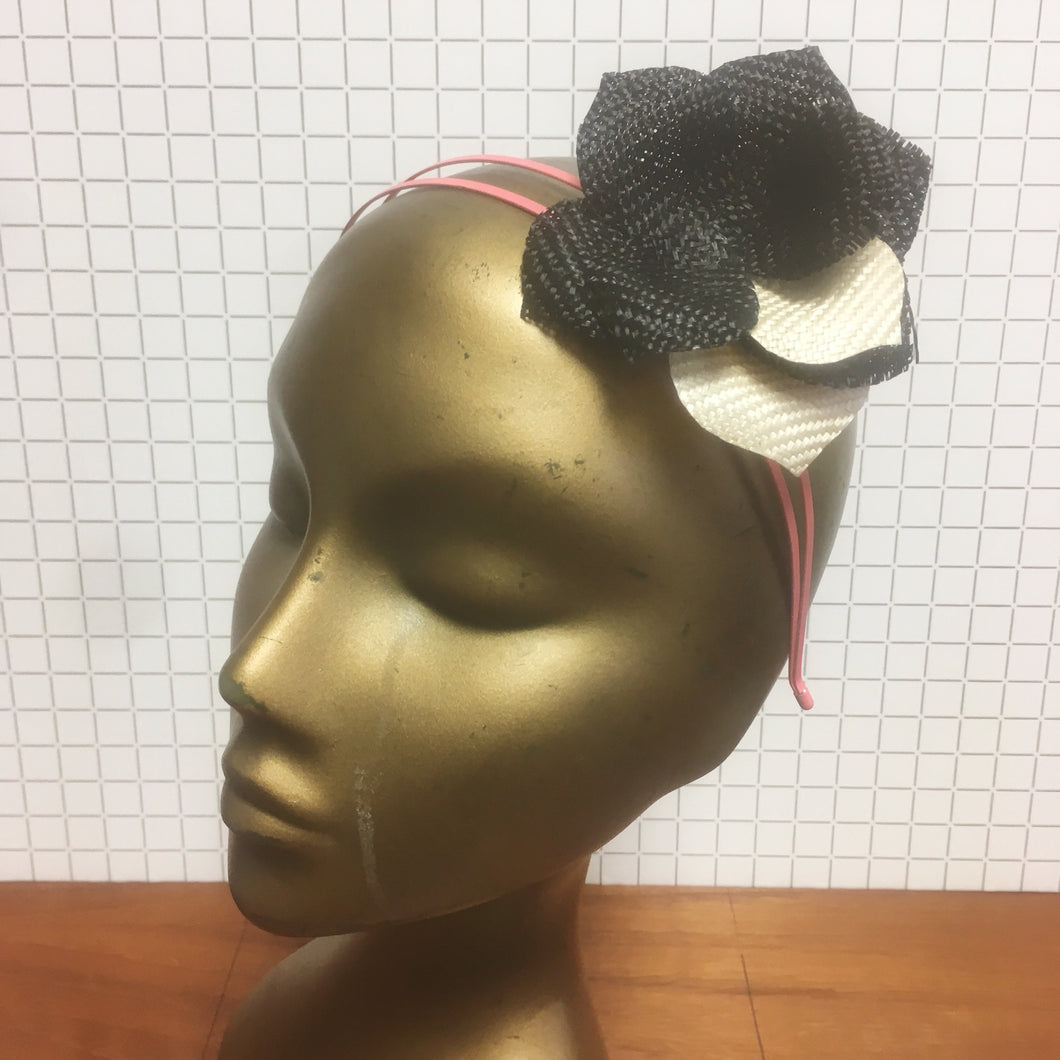 Black, Ivory & Pink Straw Flower Headpiece