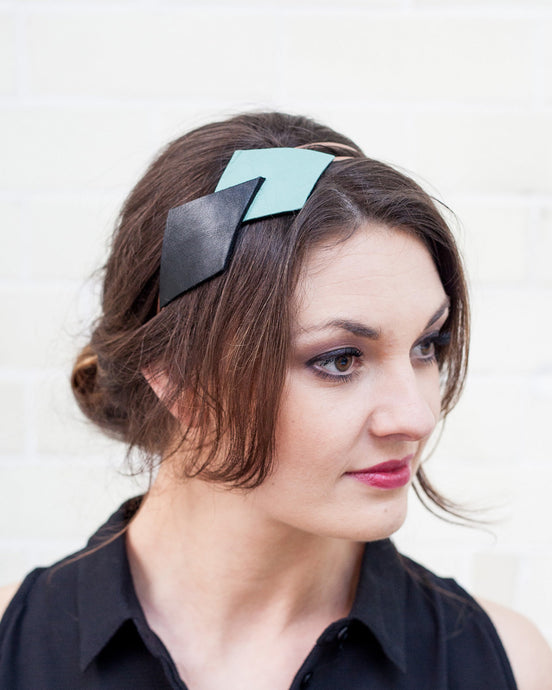 Mint, Black and Copper Headband