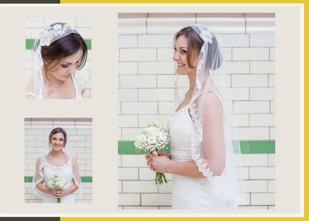 Edwardian Style Veil with lace crown and edge detail