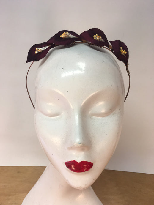 Damson Velvet & Yellow Pearl Colour Lily Headband