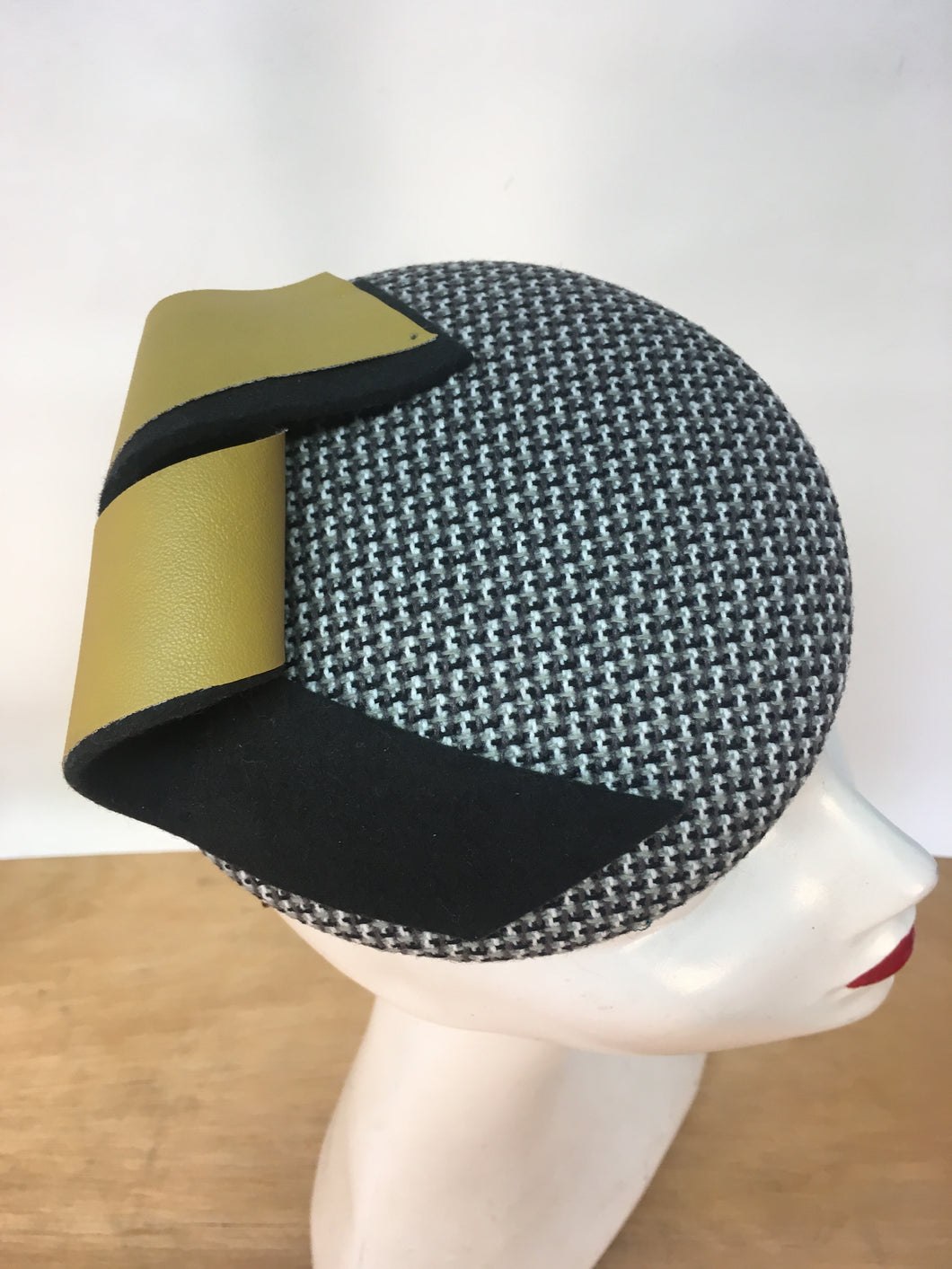 Peggy Yellow and Grey Wide Button Hat