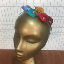 Cornflower, Dark Mint, Yellow Copper, Poppy Red & Dark Fuchsia Headpiece