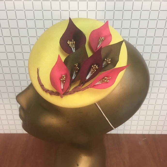 Lemon Yellow Hat with Pink & Olive Lily Branch