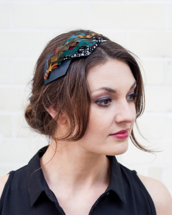 Multi Feather and Black Leather Geometric Headband