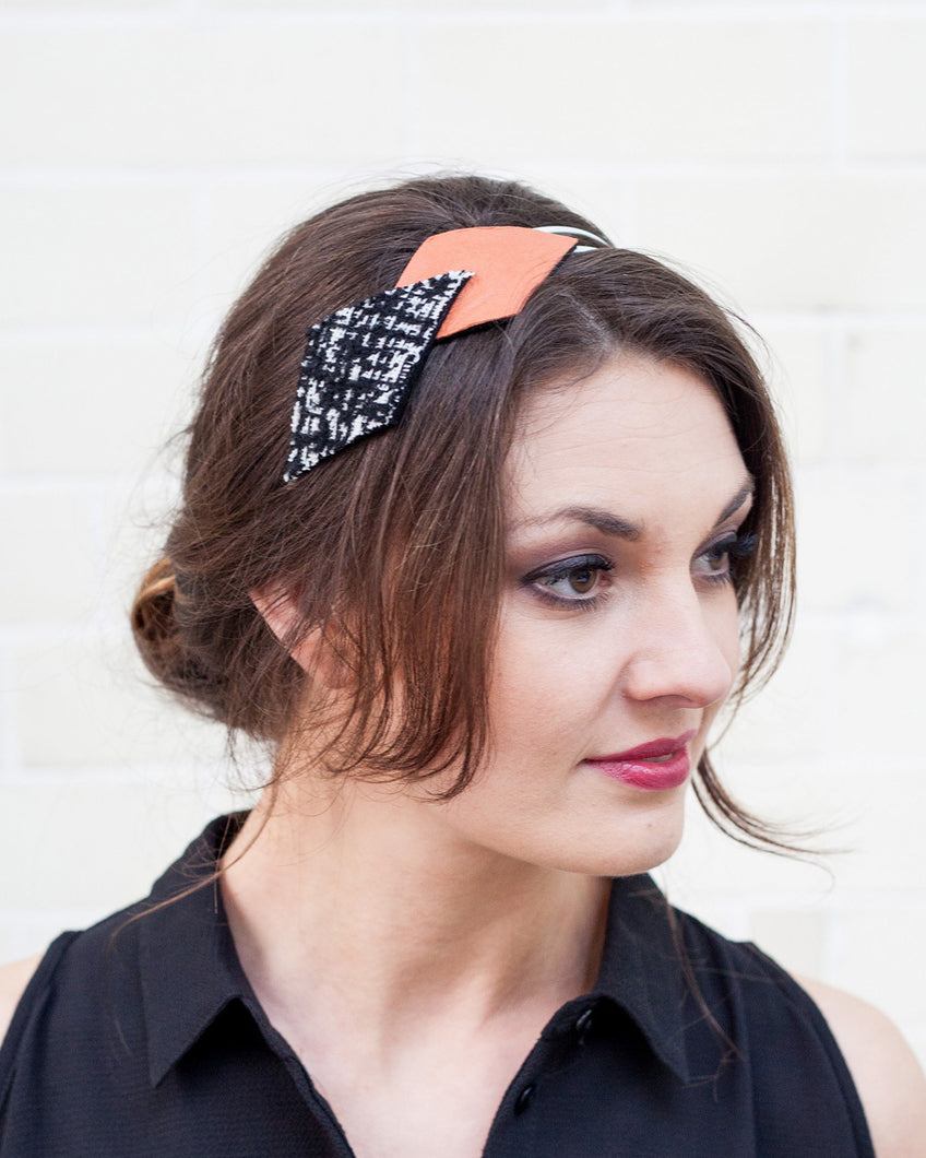 Peach, White & Black Geometric Headband