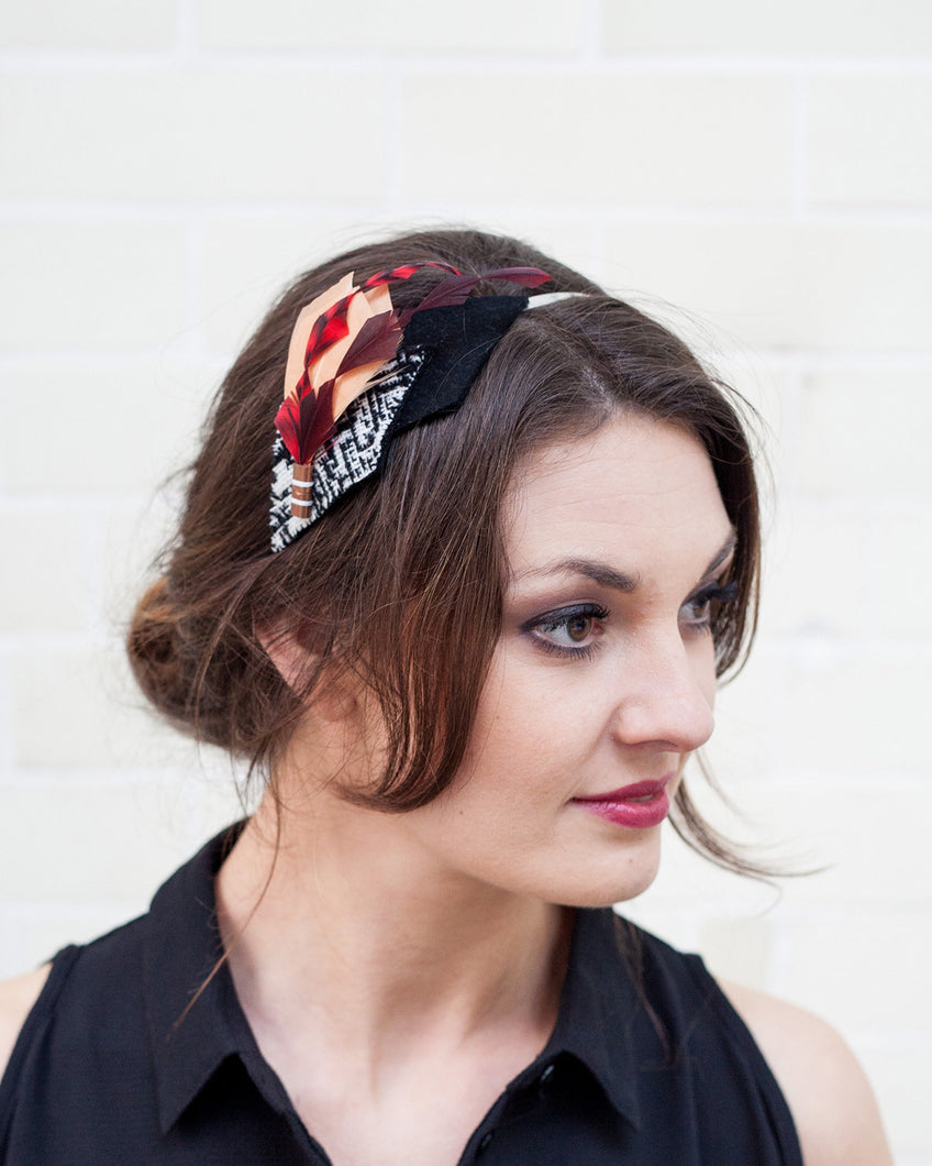 Red, Peach and Black feather headband