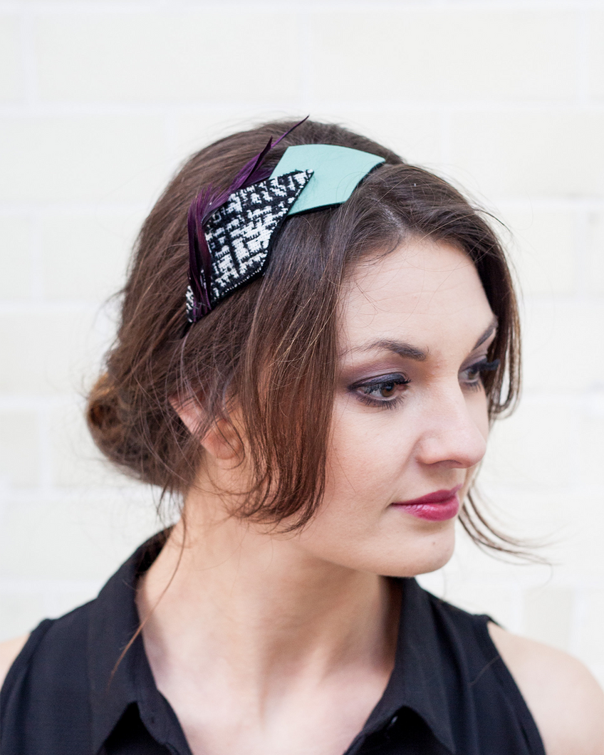 Purple, Mint and Black Spiky Feather Headband