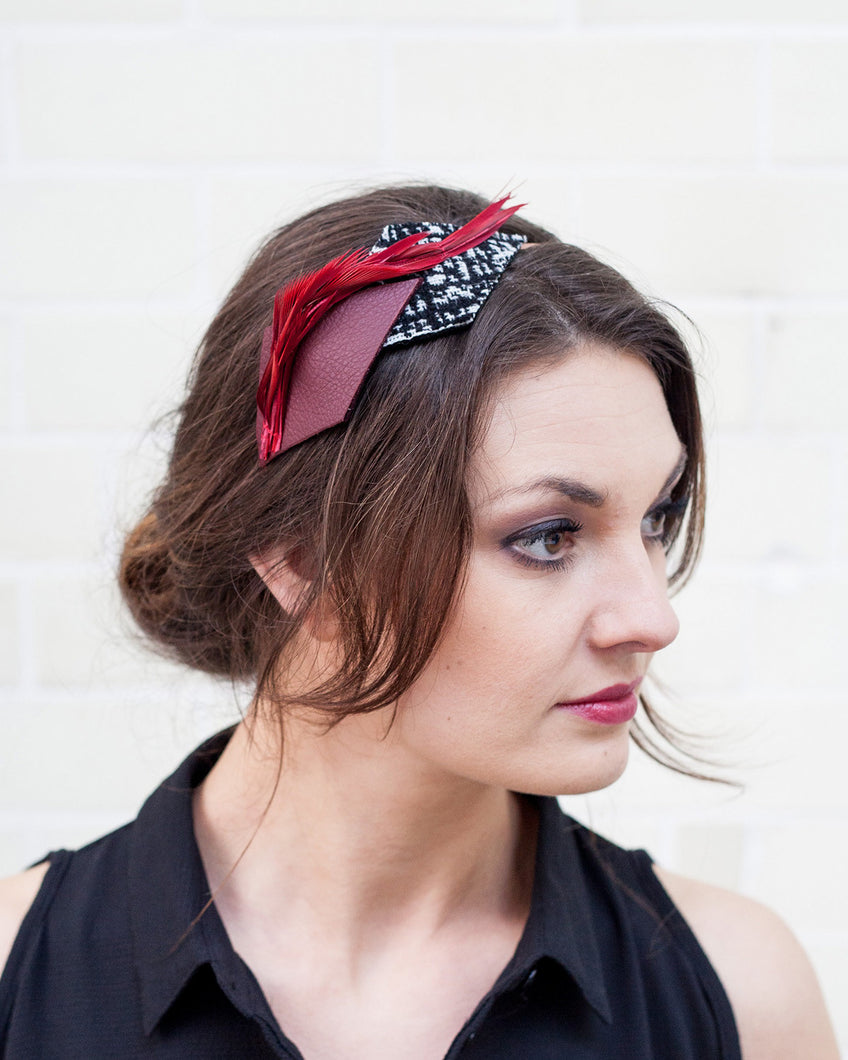 Red and Black Spiky Feather and Leather Headband