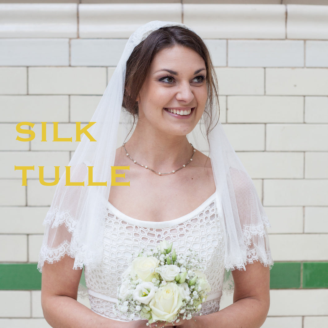 Pale Ivory Silk Tulle