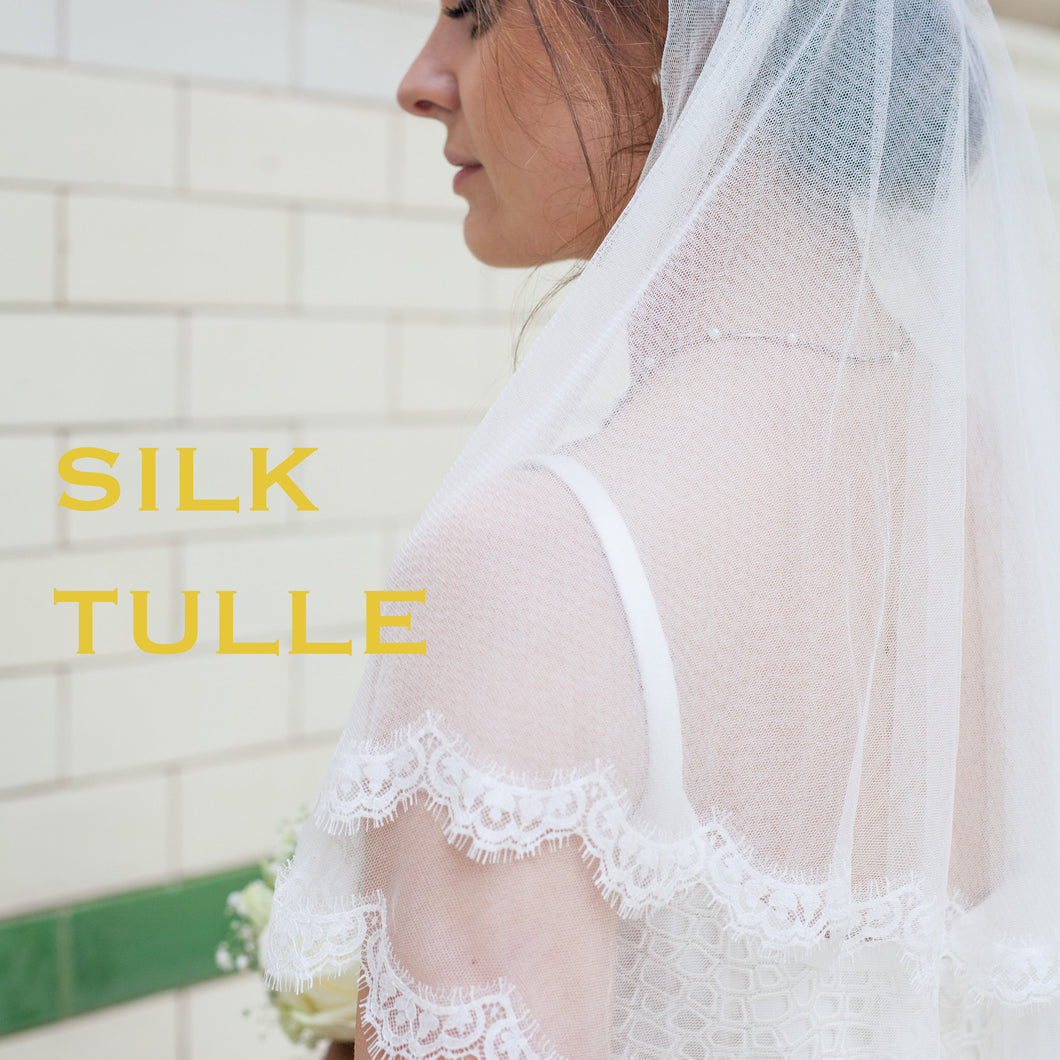 Wide Classic Ivory Silk Mix Tulle