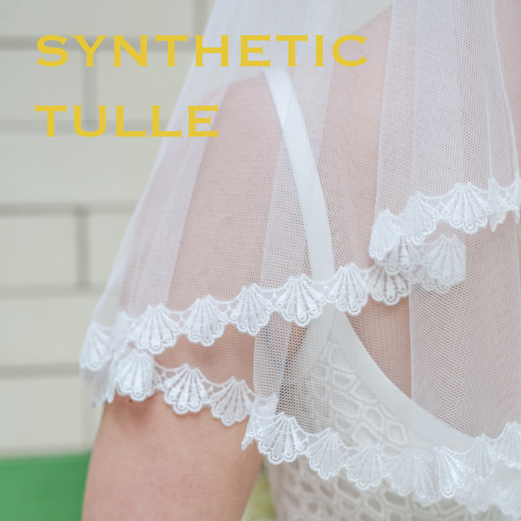 Wide Pale Ivory Synthetic Tulle