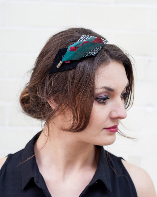 Teal, Red, Black & Grey Feather Headband
