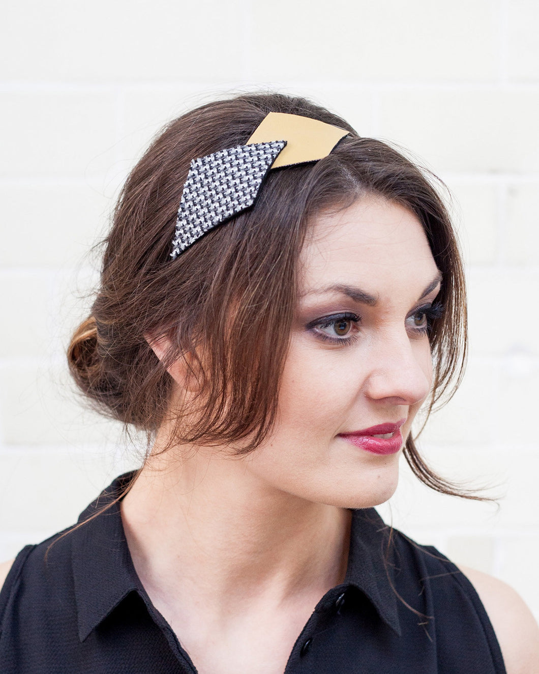 Yellow, Grey and Black Geometric Headband