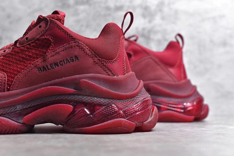 Image of BLCG Triple S Burgundy Red Shoes Sneakers
