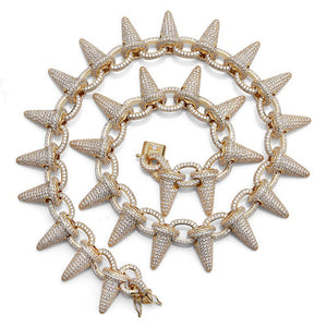 Big Rivet Style fashion Gold Silver Ice Cream Shape Iced Out Tennis Necklace