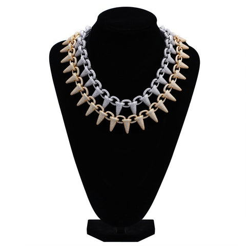 Image of Big Rivet Style fashion Gold Silver Ice Cream Shape Iced Out Tennis Necklace