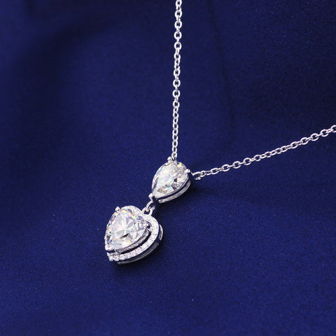 Image of Silver Gold Plated Yellow Moissanite Diamond Heart Pendant Necklaces