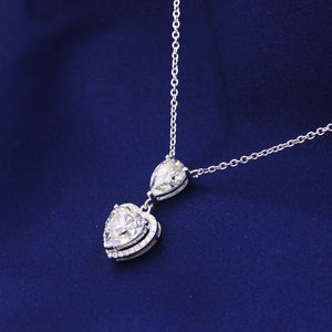 Silver Gold Plated Yellow Moissanite Diamond Heart Pendant Necklaces