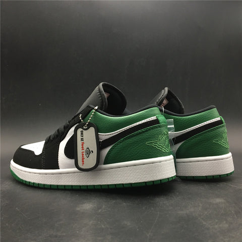 Image of AJ 1 Low White Black Mystic Green Shoes Sneakers