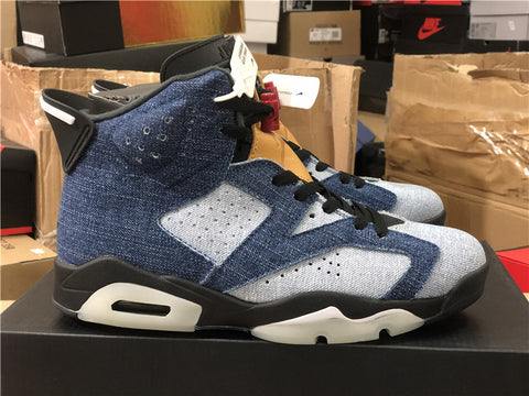 Image of AJ 6 Retro Washed Denim Shoes Sneakers