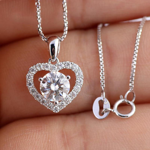 Image of New Design 925 Silver Moissanite Pendant Necklace