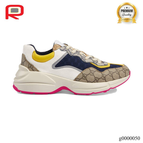 Image of GG Rhyton Beige Ebony Shoes Sneakers