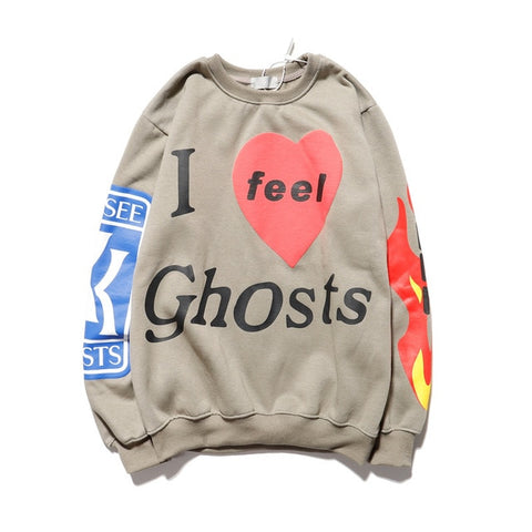 Image of Kanye West Graffiti Print Letters Hoodie Plus Flame Print Shaped Circle Collar Sweatshirt