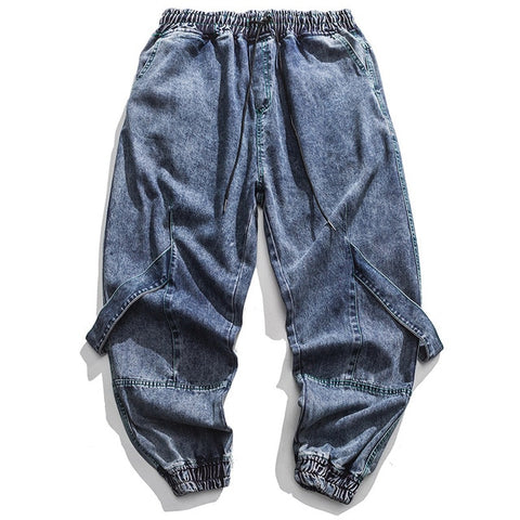Image of Solid Ribbon Decoration Denim Pants