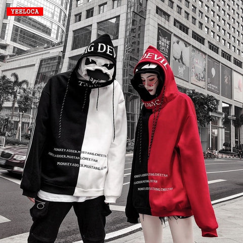 Image of High quality stitching double cap men and women couple hoodies sweatshirts for men Hood Harajuku High Street  Loose  Street wear