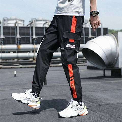 2020 New Hip Hop Joggers Cargo Pants Men Multi-Pocket Ribbons