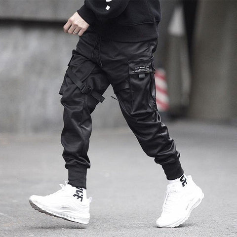 Image of Ribbons Block Black Pocket Cargo Pants
