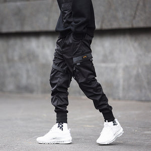 Ribbons Block Black Pocket Cargo Pants