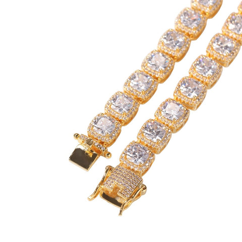 Image of Square CZ Tennis Chain Necklace (10mm)