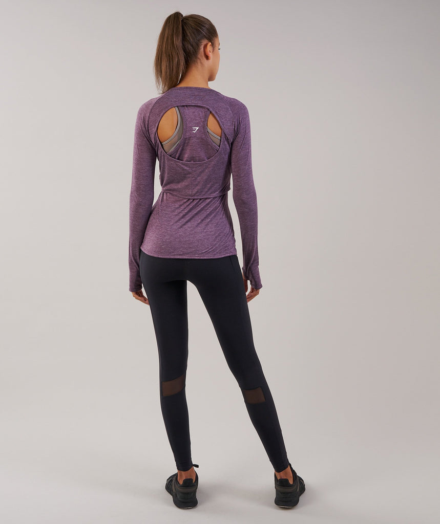 Gymshark Double Up Long Sleeve Top - Purple Wash Marl 2