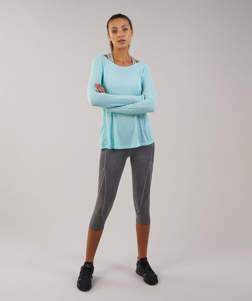 Gymshark Cross Back Long Sleeve Top - Pale Turquoise Marl 3