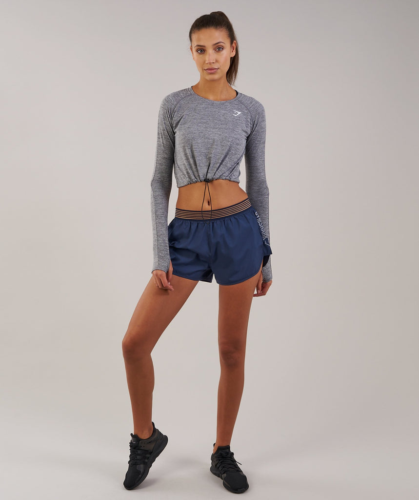 Gymshark Drawcord Crop Top - Charcoal Marl 4