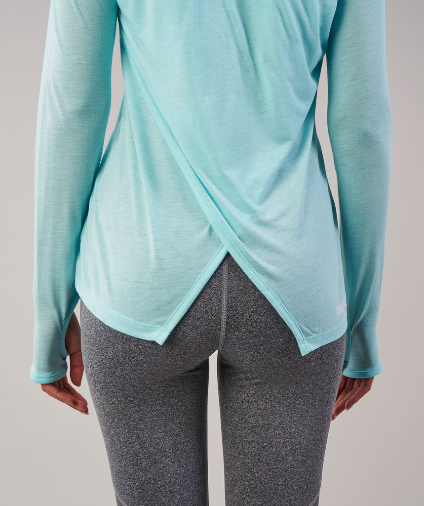 Gymshark Cross Back Long Sleeve Top - Pale Turquoise Marl 6