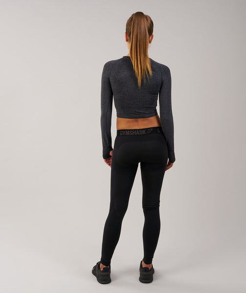 Gymshark Seamless Long Sleeve Crop Top - Black Marl 1