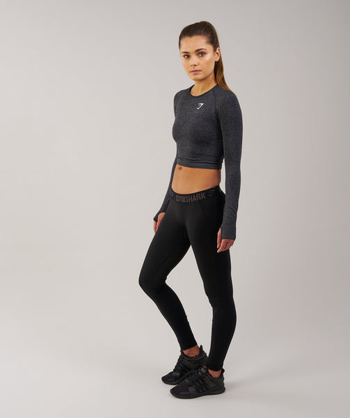 Gymshark Seamless Long Sleeve Crop Top - Black Marl 2