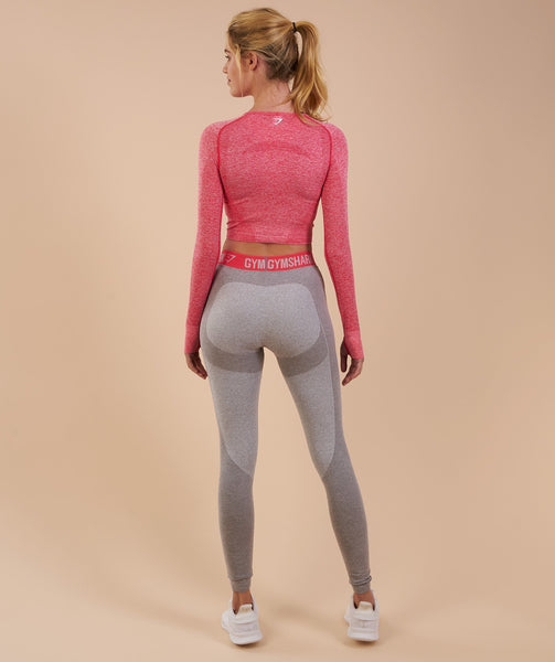 Gymshark Flex Leggings - Light Grey Marl/Sherbet Pink 1