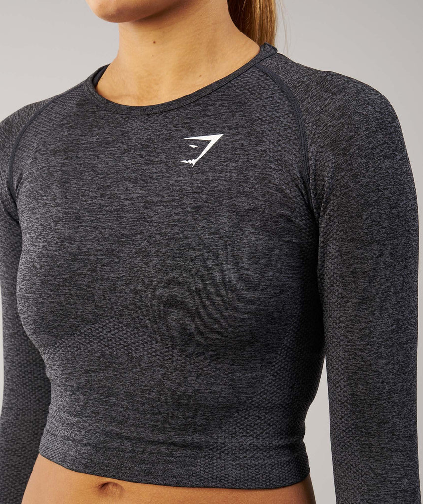 Gymshark Seamless Long Sleeve Crop Top - Black Marl 5