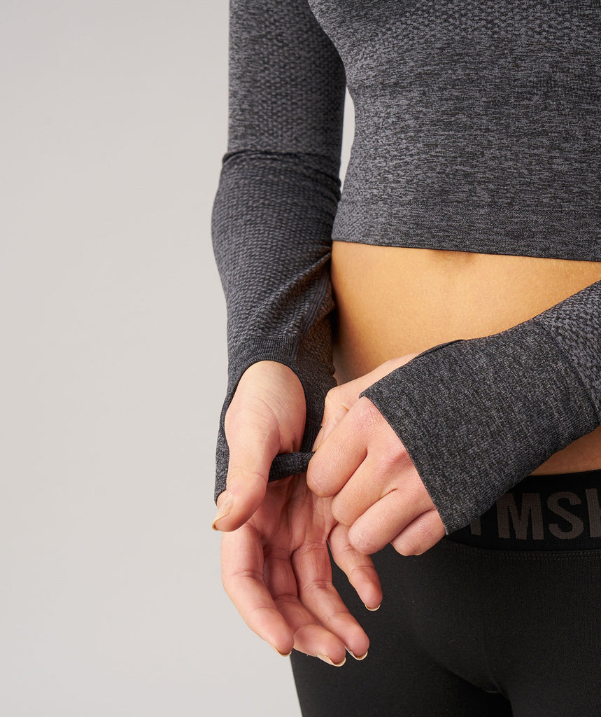 Gymshark Seamless Long Sleeve Crop Top - Black Marl 6