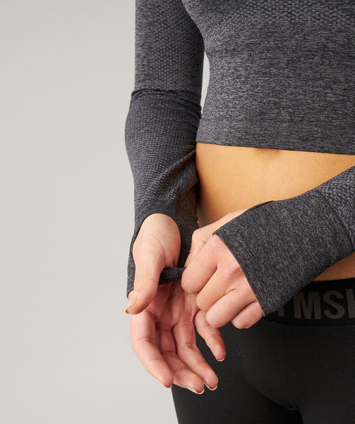 Gymshark Seamless Long Sleeve Crop Top - Black Marl 4
