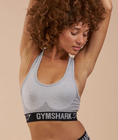 Gymshark Flex Sports Bra - Light Grey Marl/Black 12