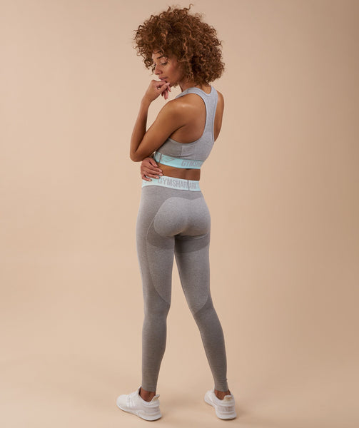 Gymshark Flex Leggings - Light Grey Marl/Pale Turquoise 4