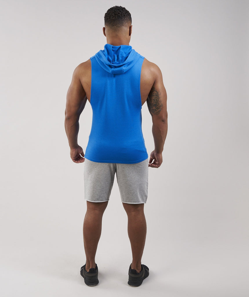 Gymshark Drop Arm Sleeveless Hoodie - Dive Blue