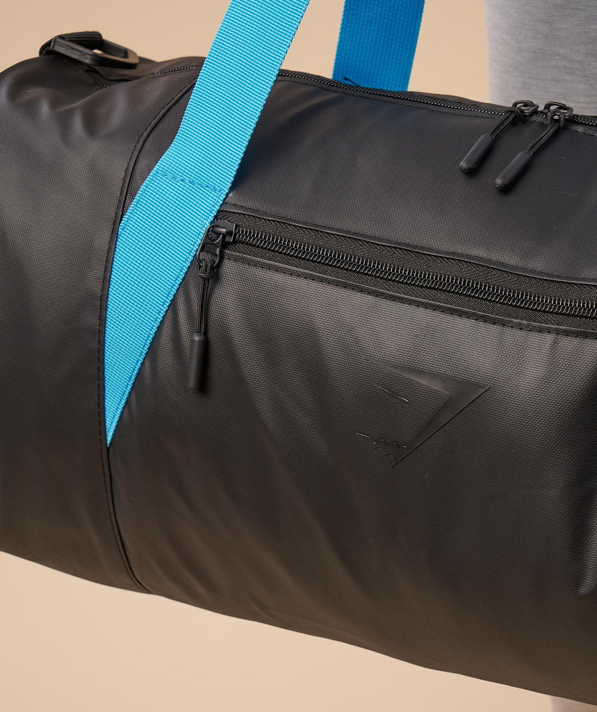 Gymshark Mens Barrel Bag - Black/Gymshark Blue 5