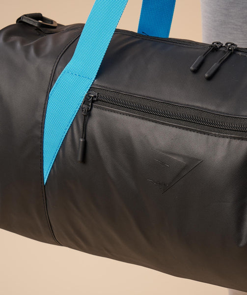 Gymshark Mens Barrel Bag - Black/Gymshark Blue 4