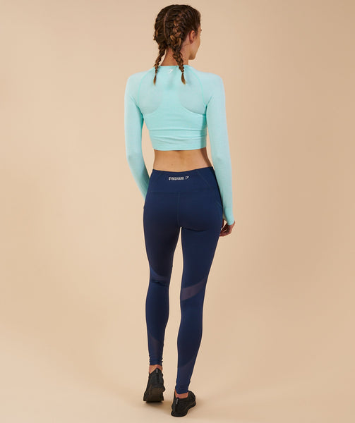 Gymshark Vital Seamless Long Sleeve Crop Top - Pale Turquoise Marl 1